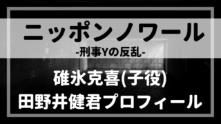 ニッポンノワール子役・碓氷克喜役田野井健プロフィール!ノージーのシナプー!